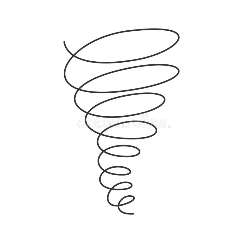 Free Tornado Swirl Continuous Line With Editable Stroke Isolated On White Background. Royalty Free Stock Image - 142977866