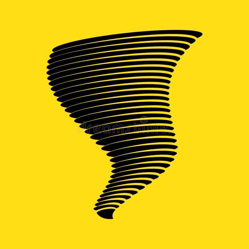 Tornado symbol na żółtym tle ilustracji