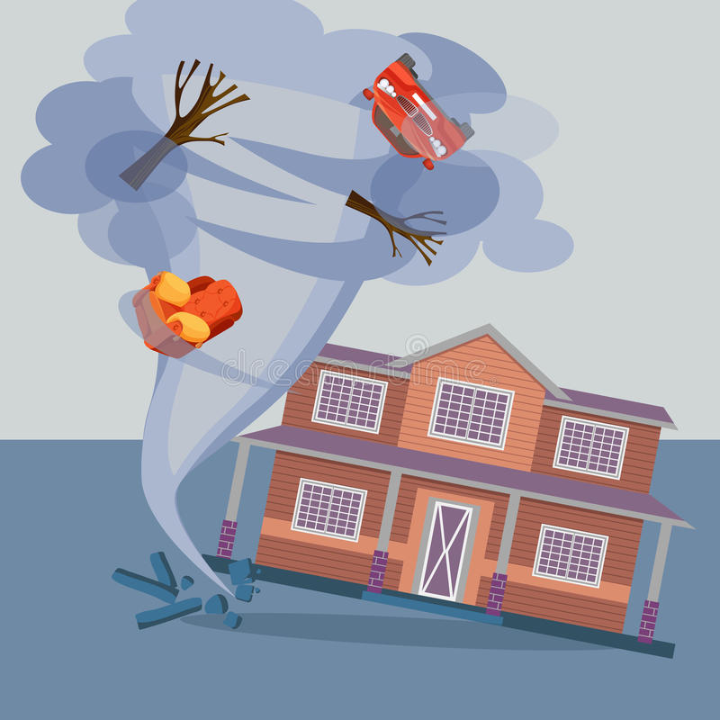 Tornado twisted cottage house, trees, car and pieces of furniture. Hurricane natural disaster damaged everything realistic vector illustration. Referred to royalty free illustration