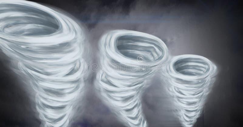 Tornado Twisters gemalt und bewölkter Himmel vektor abbildung