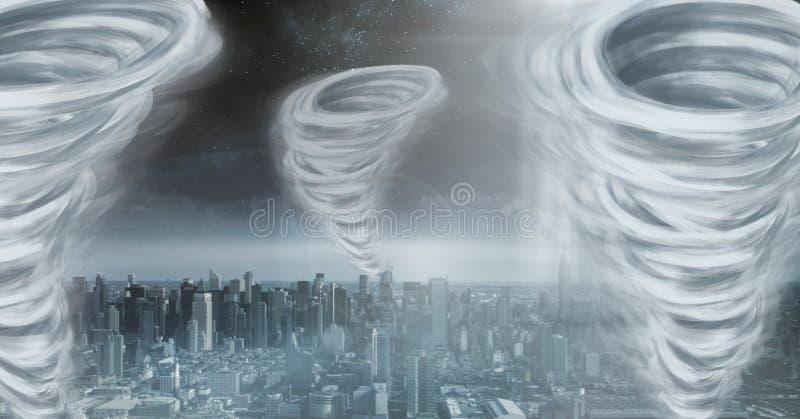 Tornado Twisters gemalt und dunkler Stadthimmel vektor abbildung