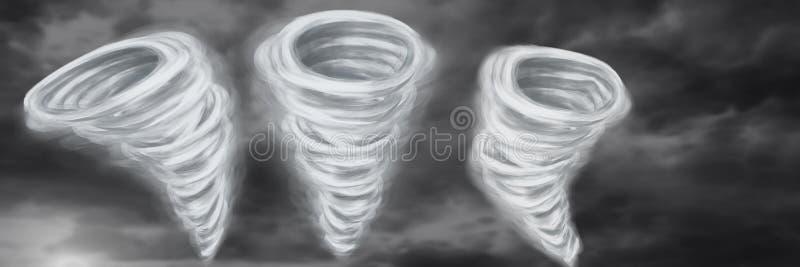 Tornado Twisters gemalt und Himmel lizenzfreie abbildung