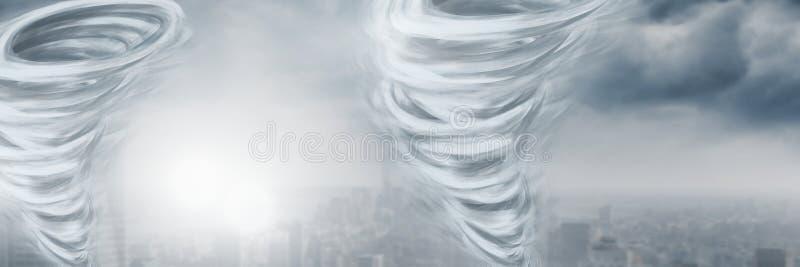 Tornado Twisters gemalt und Stadthimmel lizenzfreie abbildung