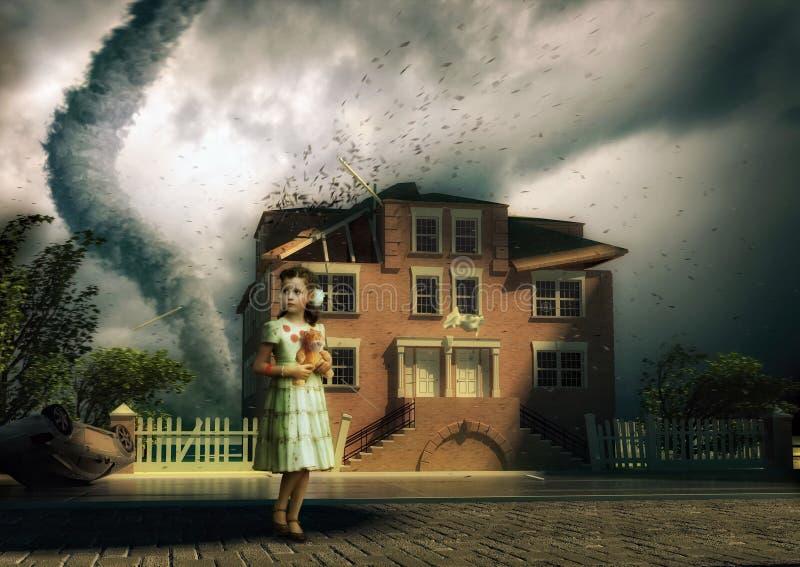 Tornado und kleines Mädchen vektor abbildung