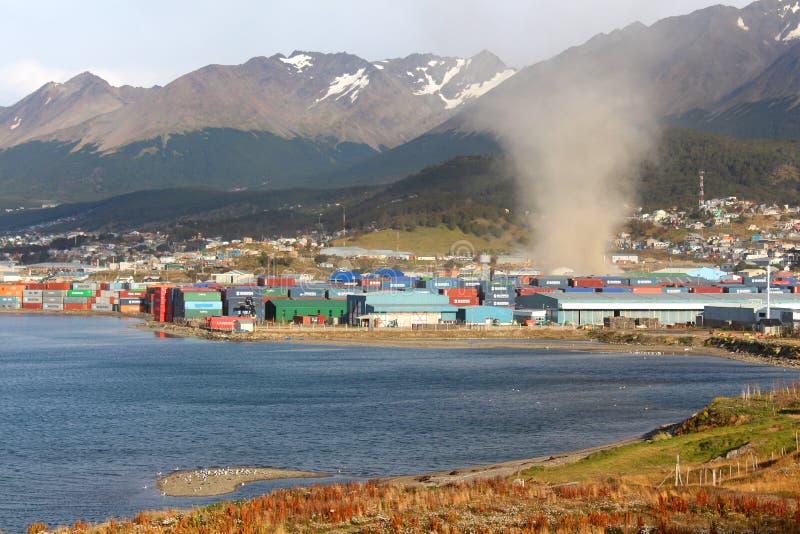 Tornado in Ushuaia-stad royalty-vrije stock foto's