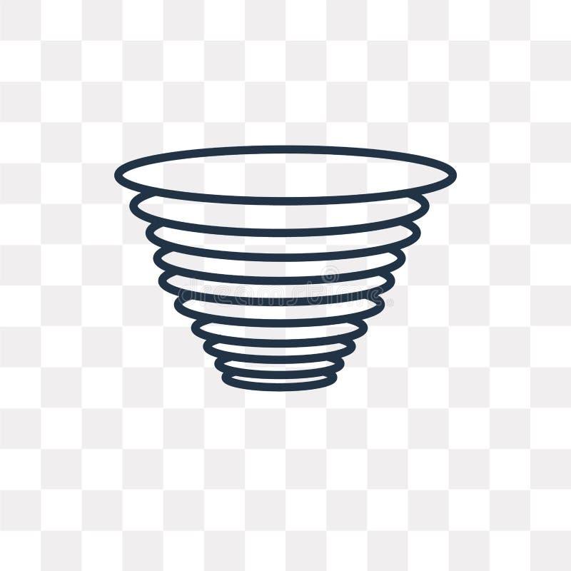 Tornado wektorowa ikona odizolowywająca na przejrzystym tle, liniowy T ilustracji