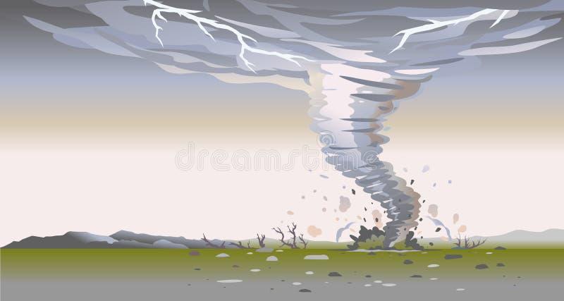 Tornado in wild nature landscape background. Tornado with spiral twists destroys all around in wild nature, the power of nature landscape background, dark sky stock illustration