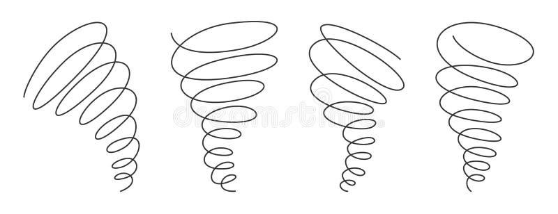Tornado zawijasa ciągła linia z editable uderzeniem odizolowywającym na białym tle - wektorowy ilustracja set ilustracji