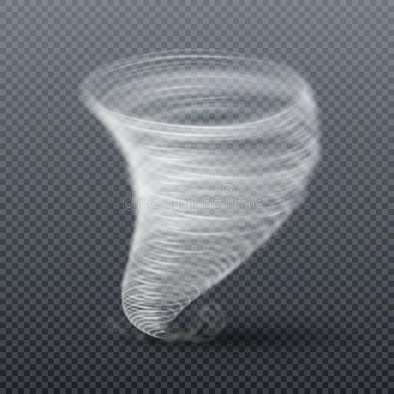 Tornadoonweer Realistische twister vectorillustratie royalty-vrije illustratie