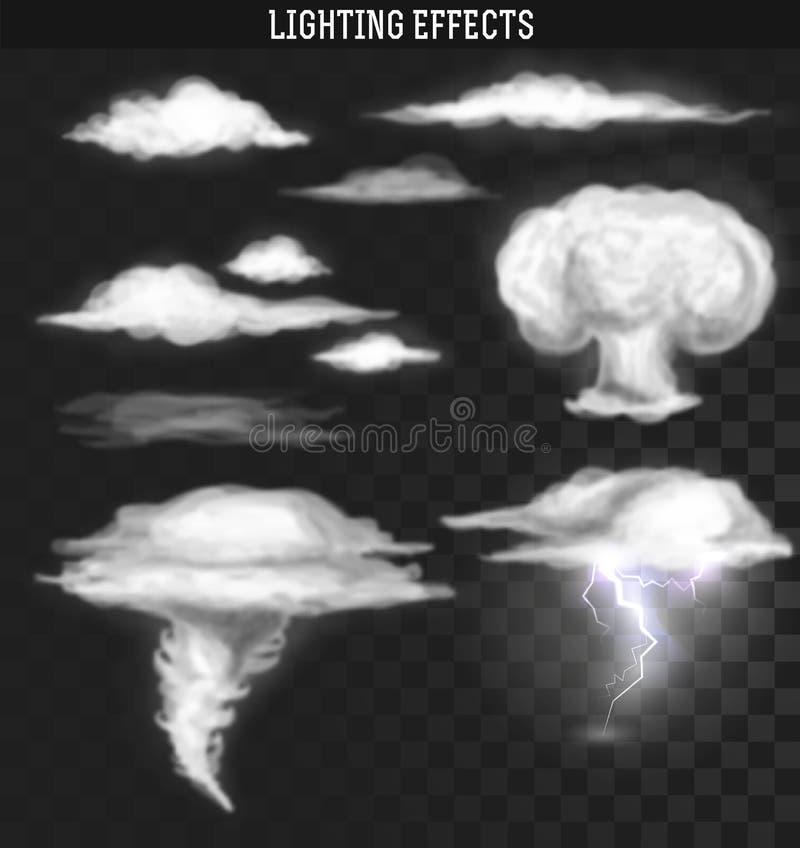 Tornadoonweer Weerwolken Wolken realistisch effect stock illustratie