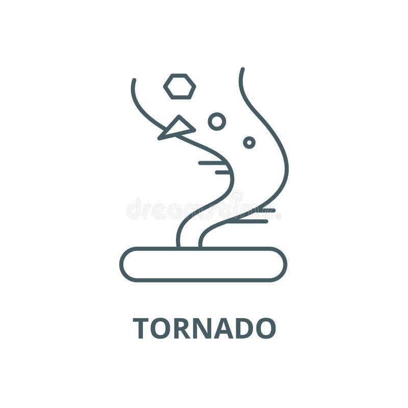 Tornadovektorlinie Ikone, lineares Konzept, Entwurfszeichen, Symbol lizenzfreie abbildung