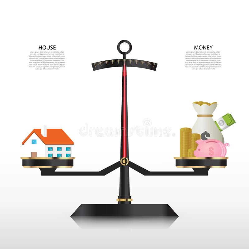 Tornando mais pesada a escala Casa e dinheiro Molde do projeto de Infographic ilustração stock