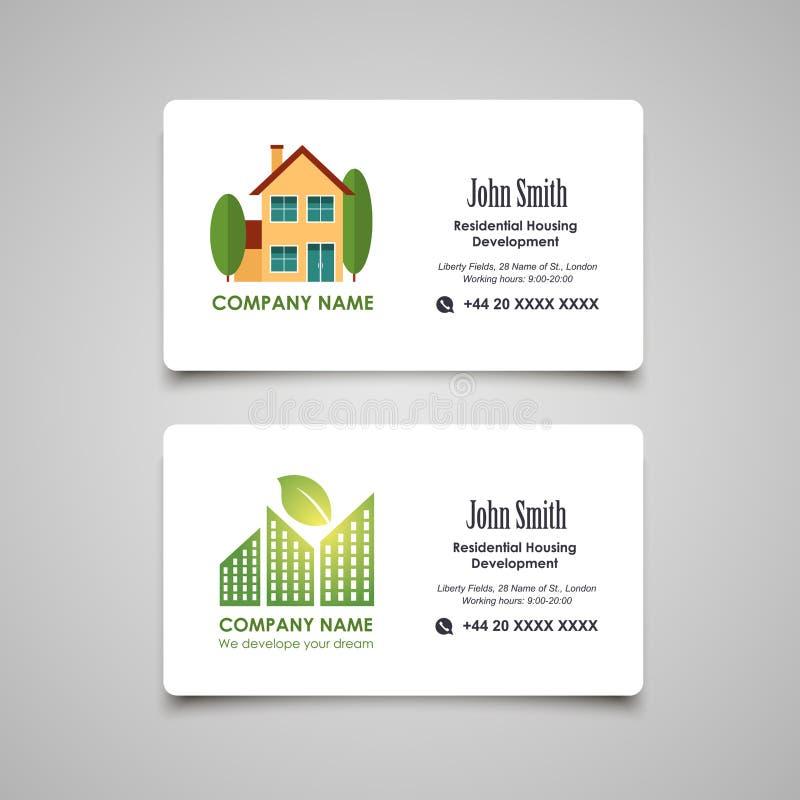 Tornar-se do alojamento ou molde residencial do cartão do aluguel ilustração stock
