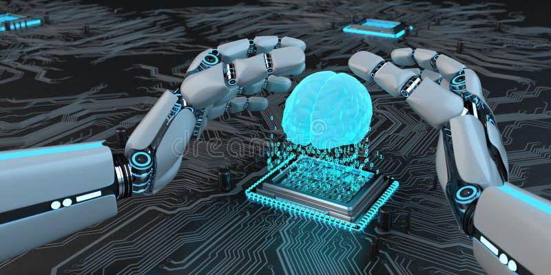 Tornar-se Humanoid do AI do robô ilustração do vetor