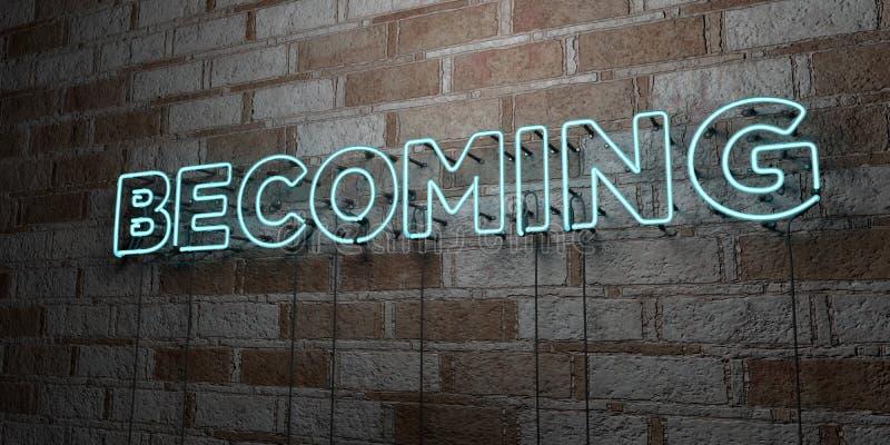 TORNAR-SE - Sinal de néon de incandescência na parede da alvenaria - 3D rendeu a ilustração conservada em estoque livre dos direi ilustração royalty free