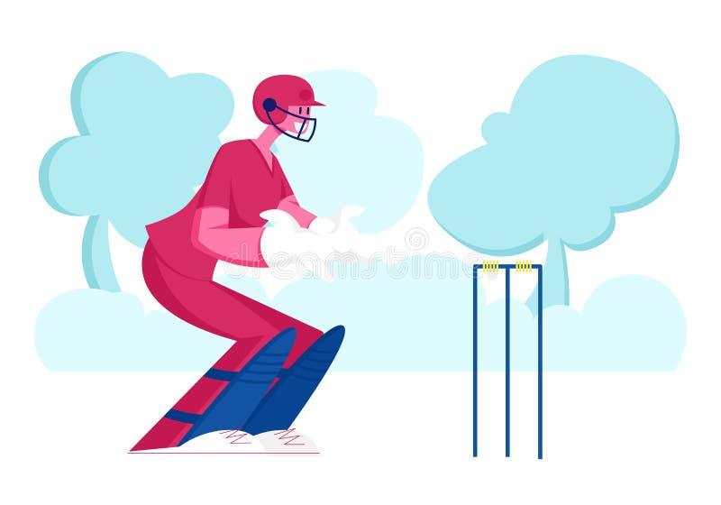 Torneio de críquete, competição ao ar livre e eventos desportivos Jovem Jogador do Jogador de Cricketer do Jogador do Sorriso ilustração do vetor