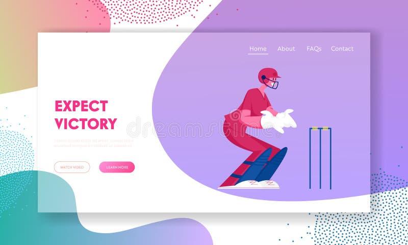 Torneio de críquete, página inicial do site da Competição Jovem Jogador do Jogador de Cricketer do Jogador do Sorriso ilustração do vetor