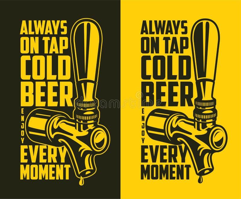 Torneira da cerveja com citações da propaganda ilustração royalty free