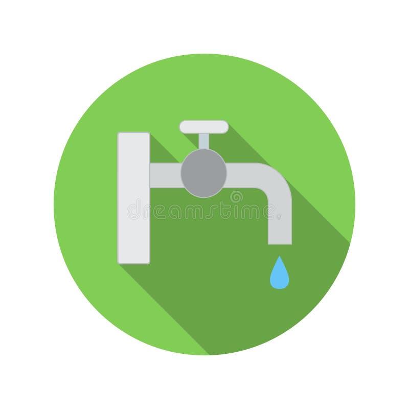Torneira de água com ícone liso da gota ilustração do vetor