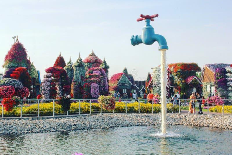 Torneira de água do jardim do milagre de Dubai imagem de stock royalty free