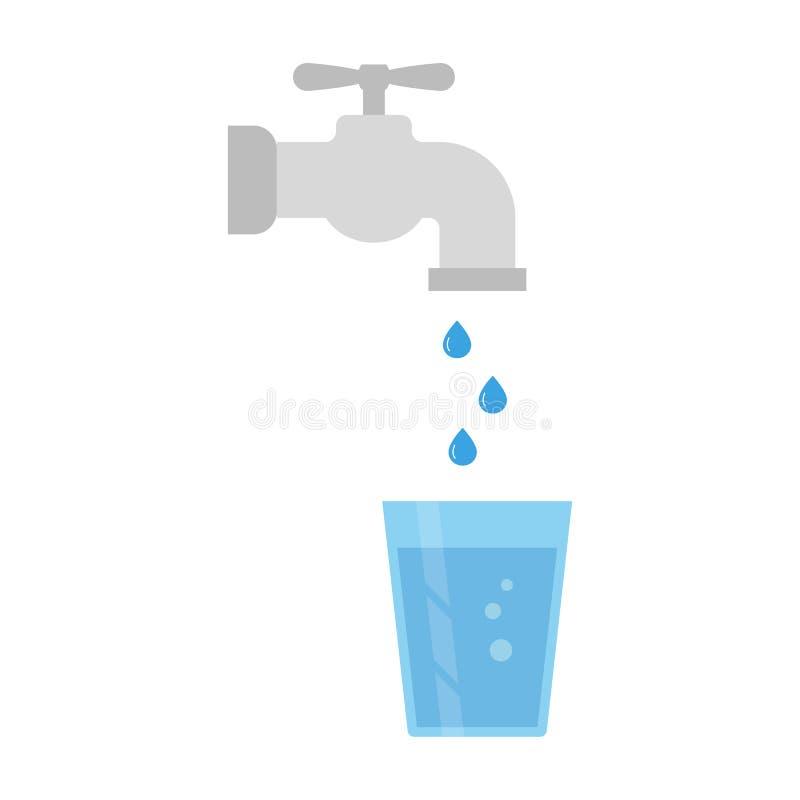 Torneira de água e vidro da água ilustração royalty free