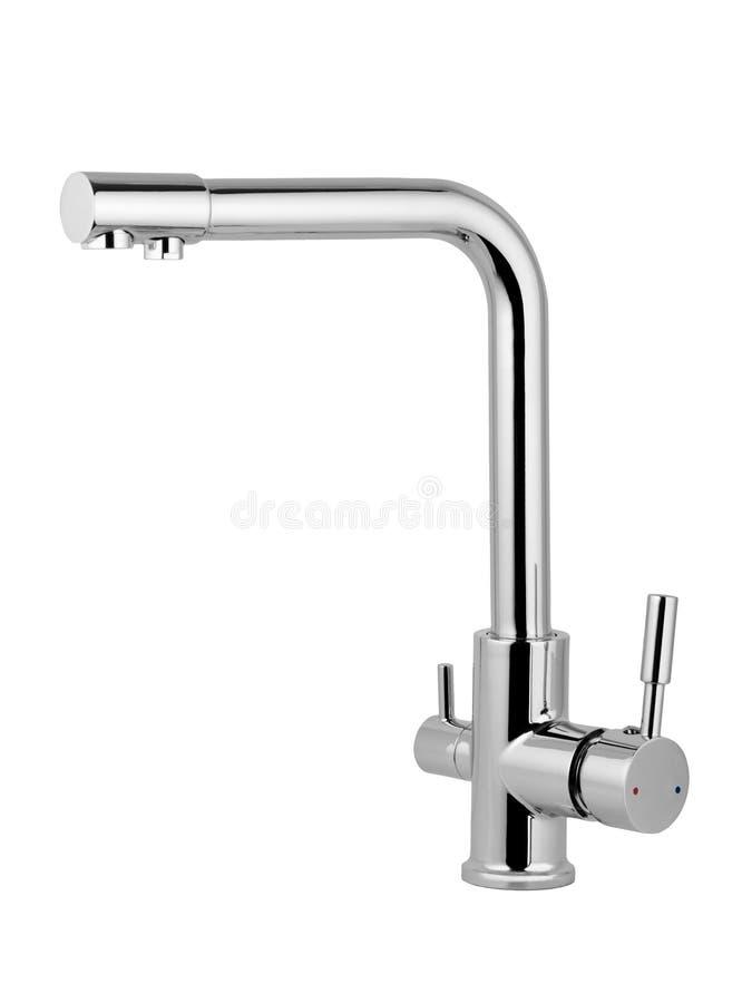 Torneira de água, torneira para o banheiro, água quente fria do misturador da cozinha Chrome chapeou o metal Isolado em um fundo  imagem de stock