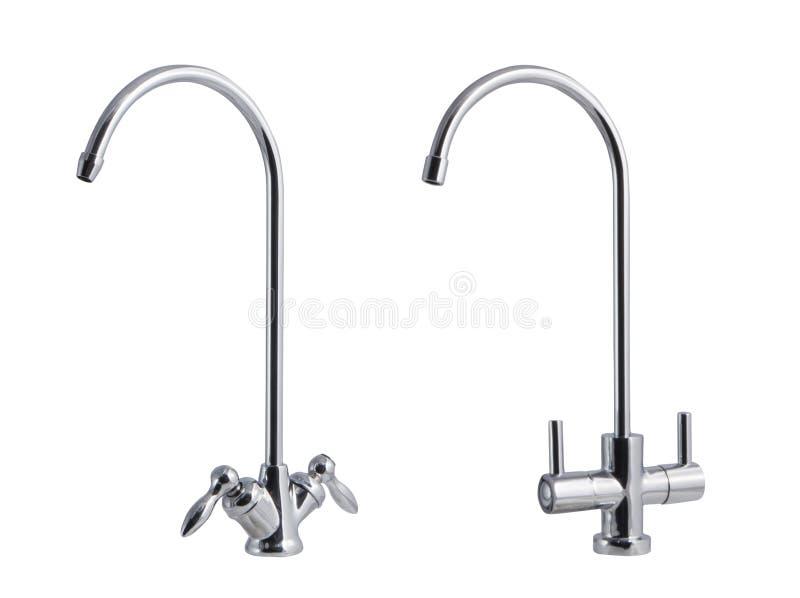 A torneira de água, torneira para o banheiro e misturador da cozinha, isolados em um fundo branco foto de stock royalty free
