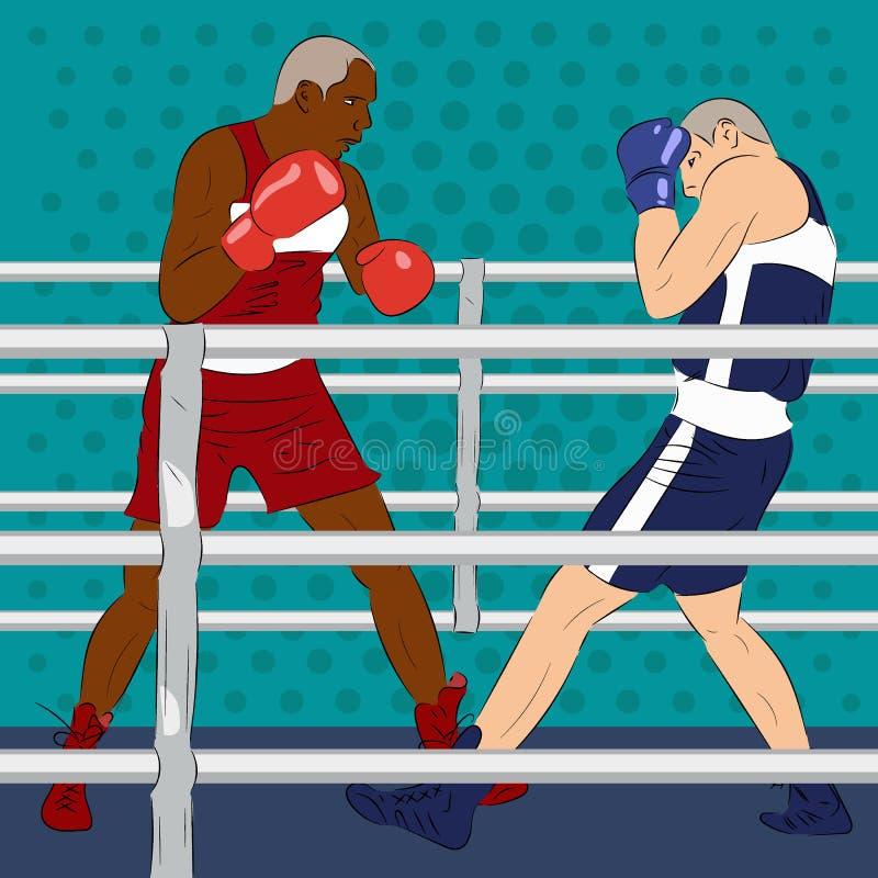 Torneo del boxeo Dos boxeadores son lucha en el boxeo profesional m stock de ilustración