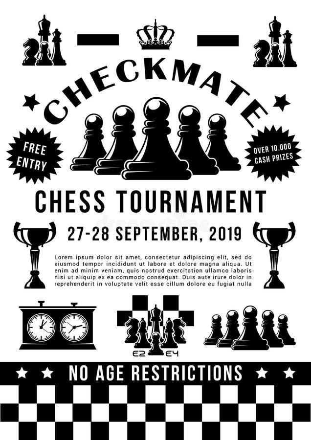 Torneo del deporte del ajedrez, pedazos del juego y contador de tiempo ilustración del vector