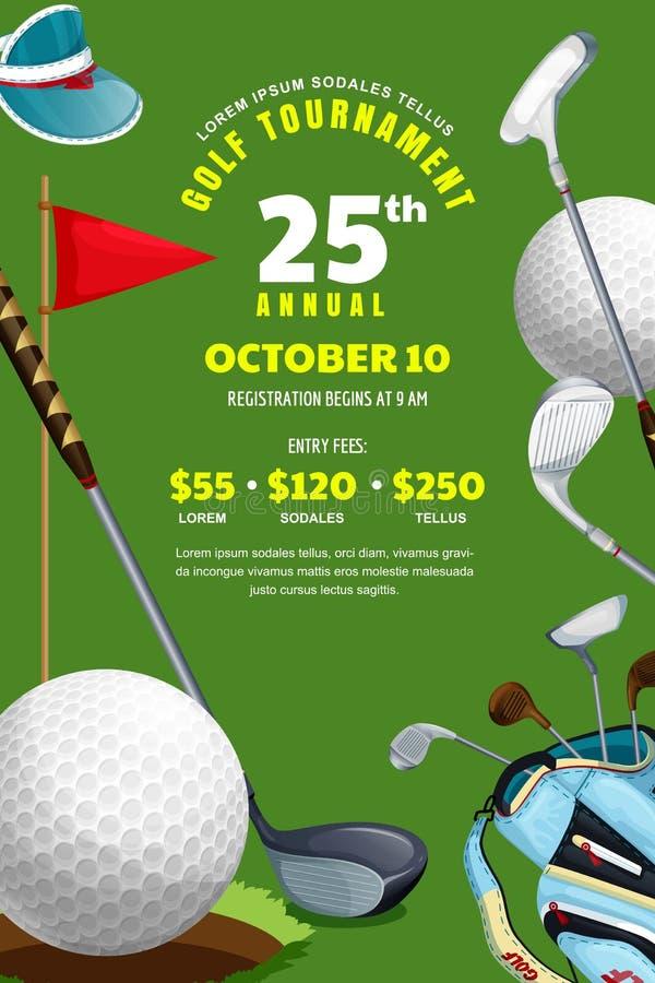 Torneo del golf, cartel, plantilla del diseño de la bandera Ilustraci?n del vector Bola, bolso con los clubs de golf en fondo ver libre illustration