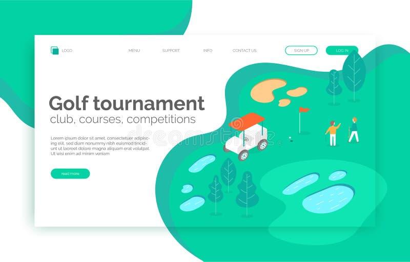 Torneo del golf, cursos, competencia, sitio web de la escuela, página de aterrizaje, presentación, disposición, app, bandera libre illustration