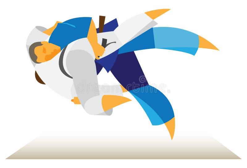 Torneo di judo i lottatori eseguono i trucchi illustrazione vettoriale