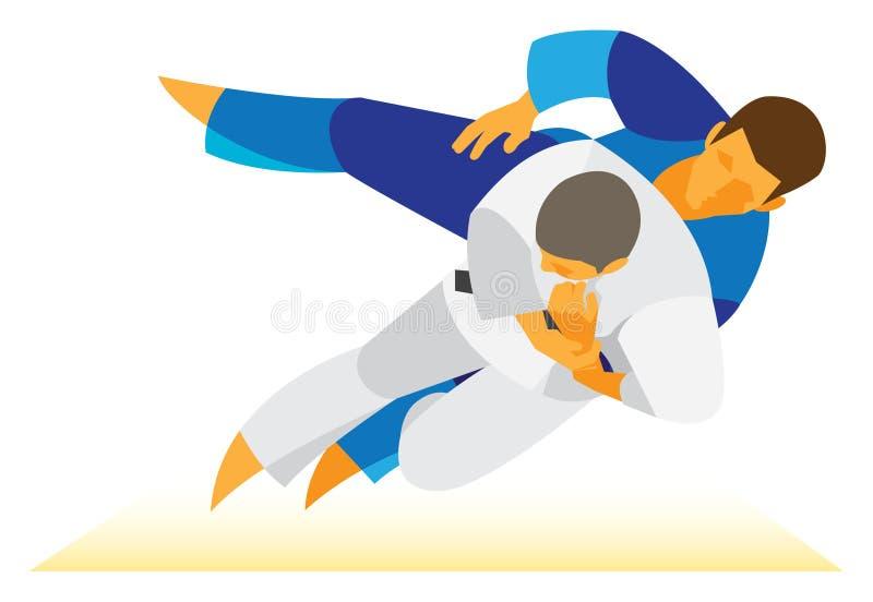 Torneo di judo un duello emozionante di due combattenti illustrazione vettoriale