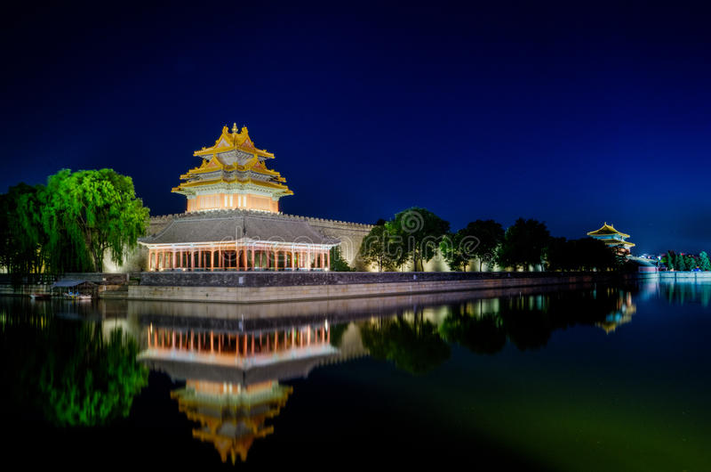 Tornet av Forbiddenet City på skymning i beijing, Kina royaltyfri bild
