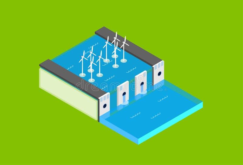 Tornet för turbinen för vind för stationen för vattenfördämningen återanvänder det elektriska den isometriska bästa sikten 3d för vektor illustrationer