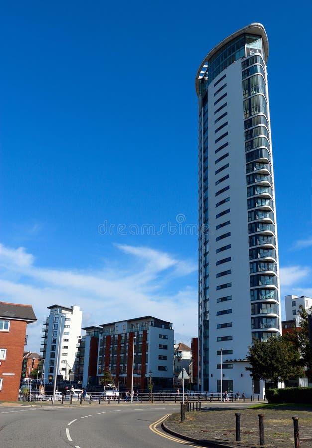 Tornet, meridiankaj i den Swansea staden, Wales, UK arkivbild