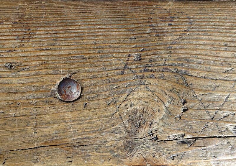 Tornillo de acero del perno del metal del viejo del vintagewood backgroundwith de madera de la superficie imagen de archivo libre de regalías