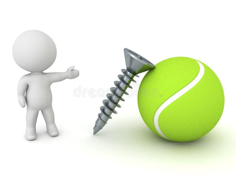 tornillo de la demostración del carácter 3D y concepto excéntrico de la bola stock de ilustración