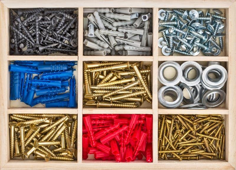 Tornillos de presión, tornillos, pasadores en la caja imagen de archivo