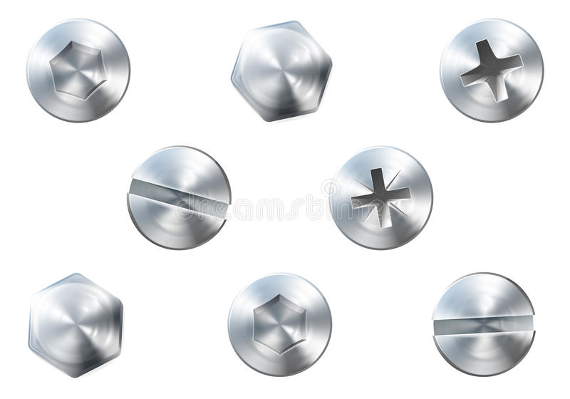 Tornillos y tornillos ilustración del vector