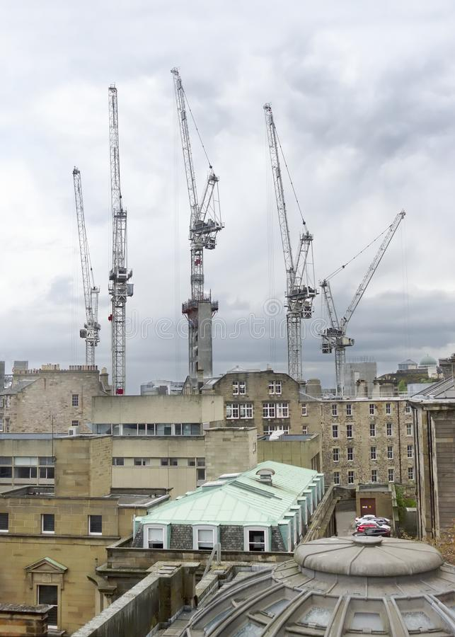 Tornkranar för konstruktion många som är höga i himmel som står högt över stadsskyskrapor och byggnader för kontorskvarter royaltyfria foton
