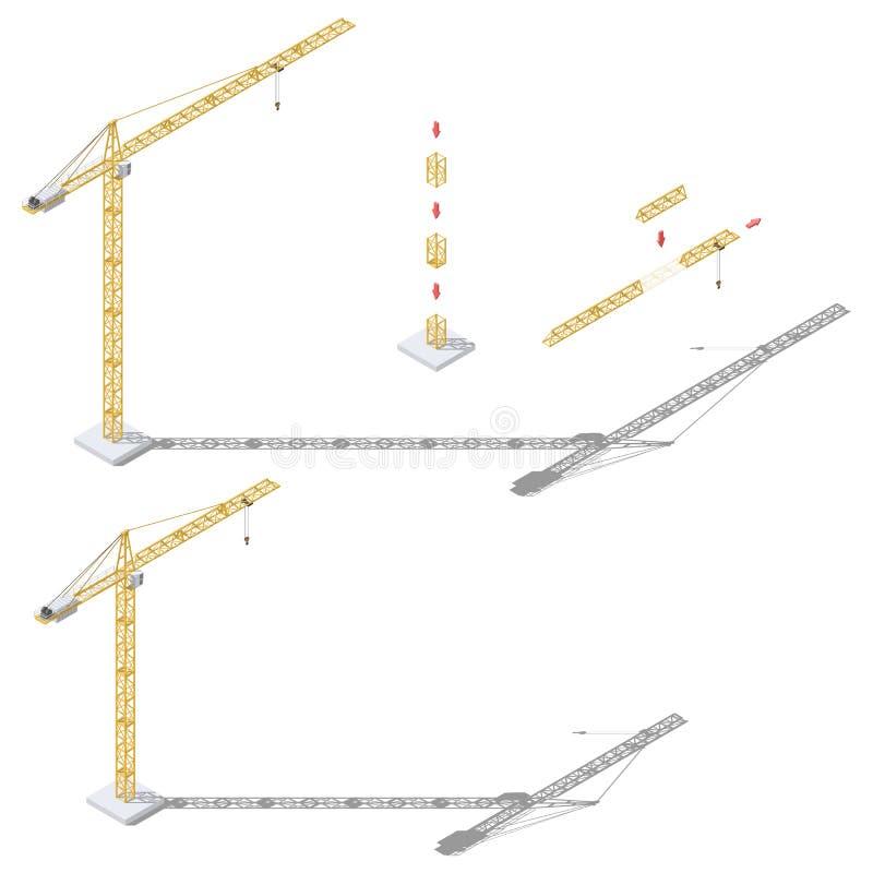 Tornkranen med den justerbara isometriska symbolen för banglängden och för tornhöjd ställde in vektor illustrationer