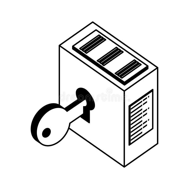 Tornserver med nyckel- s?kerhet stock illustrationer