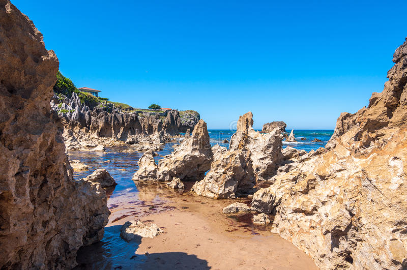 Toro Beach, Llanes. Asturias, north of Spain royalty free stock images