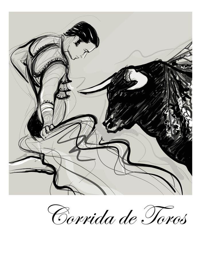 Toro che fa pagare un torero illustrazione vettoriale