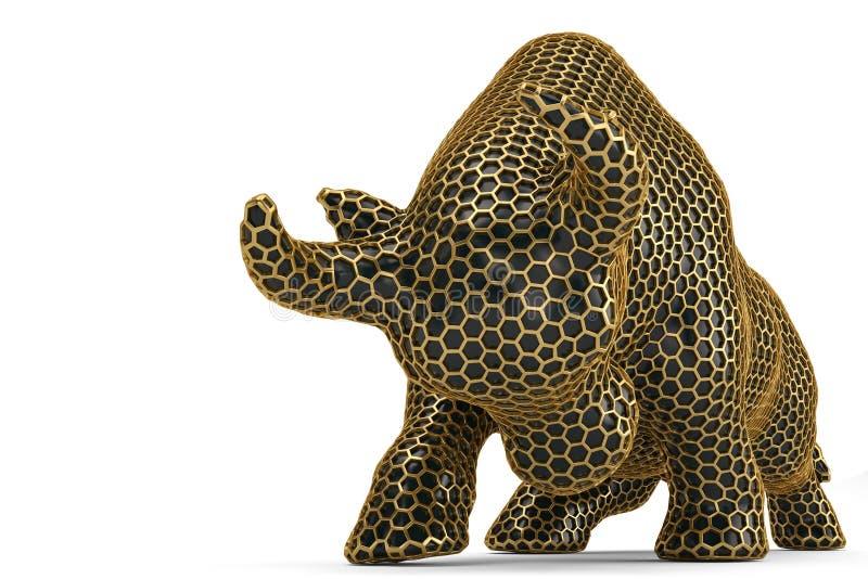 Toro de la malla del hexágono del oro en el fondo blanco ilustración 3D libre illustration