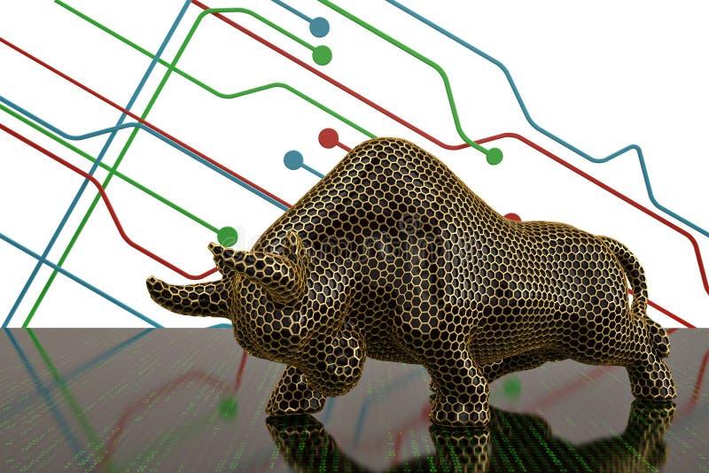 Toro de la malla del hexágono del oro en fondo digital ilustración 3D ilustración del vector