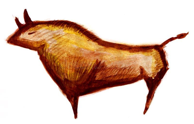 Toro de la pintura de cuevas ilustración del vector