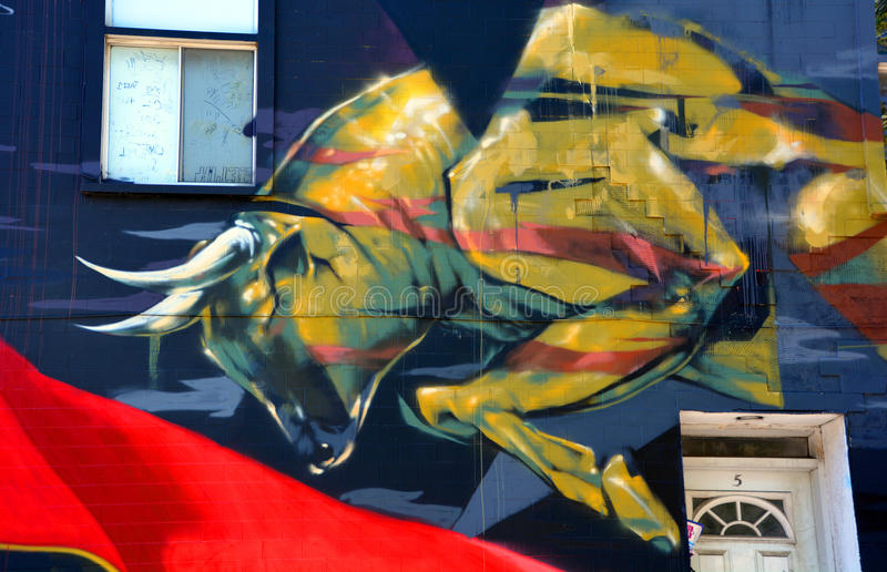 Toro del arte de la calle fotografía de archivo