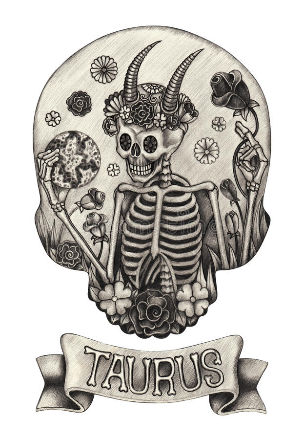 Toro del cranio dello zodiaco Disegno della mano sul documento illustrazione vettoriale